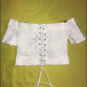 White Shirred Lace Up Crop Top